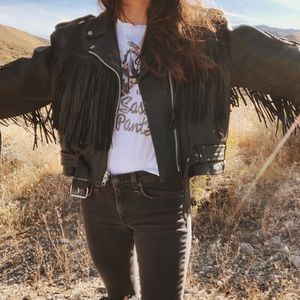 Vtg distressed leather fringe motorcycle jacket